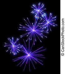 Lilac festive fireworks at night