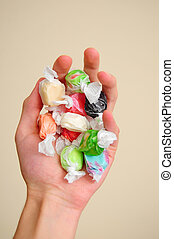 Saltwater Taffy - A pile of multicolored saltwater taffy...