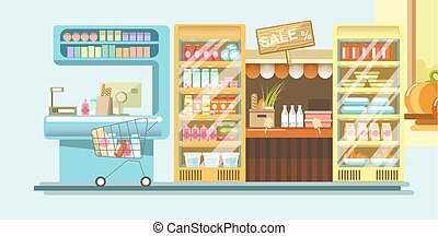 Supermarket department with dairy products and cash mashine...