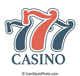Luxury casino 777 isolated minimalistic promotional cartoon...