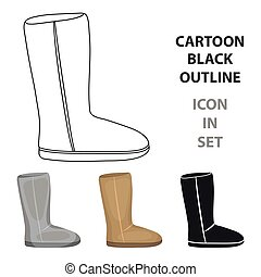 Ugg boots icon in cartoon style isolated on white...