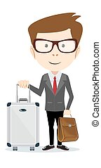 Business traveler man with suitcase