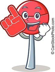 Foam finger sweet lollipop character cartoon