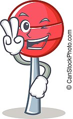 Two finger sweet lollipop character cartoon