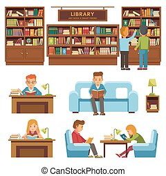 Library books and people reading in bookshop vector flat...