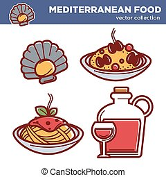 Exotic mediterranean food vector collection of isolated...