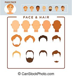 Man face constructor with samplec of modern hairstyles - Man...