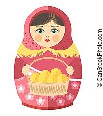 Russian matrishka in kerchief with patties in wicker basket...