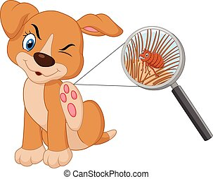 Vector illustration of flea Infested Dog