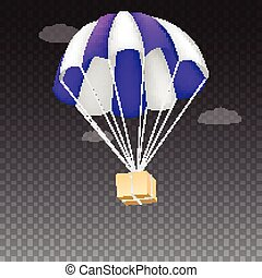 Icon of package flying on parachute, isolated on transparent...