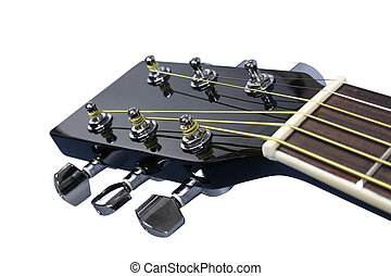 six-string - Top of fingerboard of black glossy six-string...