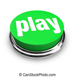 Play Word on Round Green Button - A green button with the...