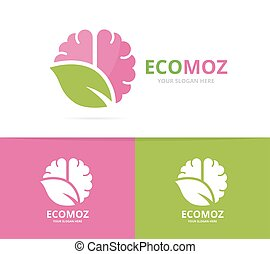 Vector brain and leaf logo combination. Education and eco...