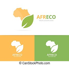 Vector africa and leaf logo combination. Safari and eco...