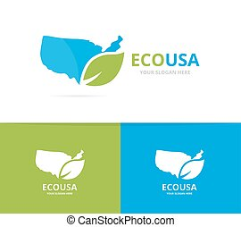 Vector of usa and leaf logo combination. America and eco...