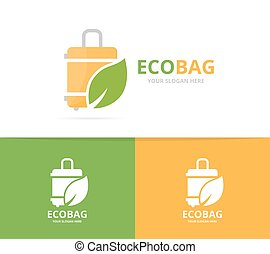 Vector of bag and leaf logo combination. Baggage and eco...