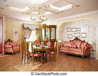 interior - luxury classic -style interior of living room (3D...