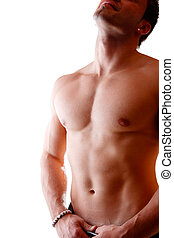 Muscular male body builder over white background