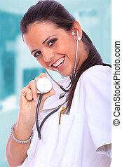 Sexy Female doctor - Sexy beautiful female doctor in light...