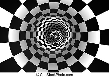 Chess spiral (concept image). The space and time. 3D...