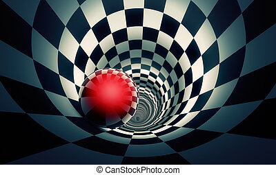 Perspective and predetermination. Red ball in a chess tunnel...