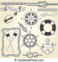 Vintage seafaring elements - steering wheel, oars, rope...