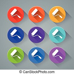 paintroller icons with various colors - Illustration of...
