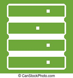 Database icon green - Database icon white isolated on green...
