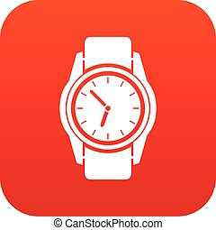 Watch icon digital red for any design isolated on white...
