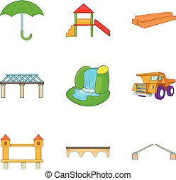Freightage icons set, cartoon style - Freightage icons set....