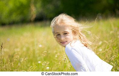 Cutie - Portrait of cute girl with fair hair having pleasant...