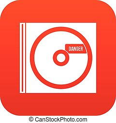 CD with danger lettering icon digital red for any design...