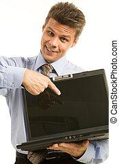 Pointing at desktop