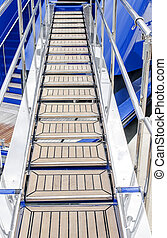Gangway to the ship. - Metal ladder on board the ship...