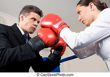 Struggle - Photo of aggressive business partners in boxing...