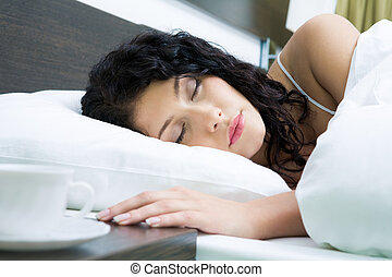 Slumber - Photo of pretty woman sleeping peacefully in white...