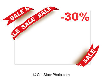 Red corner ribbon with sale sign and thirty percent discount...