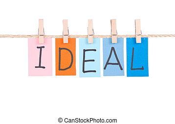 Ideal, Colorful words hang on rope by wooden peg