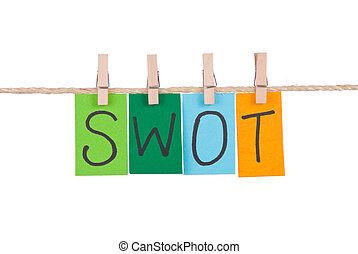 SWOT, Colorful words hang on rope by wooden peg