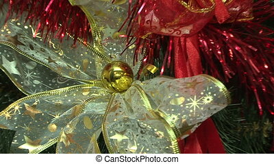 New Years spirit - Beautiful Christmas ornaments on a fresh...