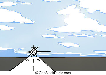 Airplane on runway drawing - Creative drawing of airplane on...