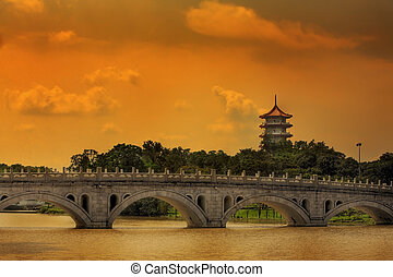 Pagoda and bridge