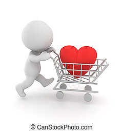 3D illustration the concept of trying to buy love. There is...
