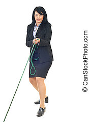 Business woman play tug of war - Full length of business...