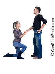 young woman makes a declaration of love to the man. Isolated...