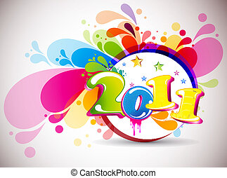 new year 2011 in colorful background design Vector...