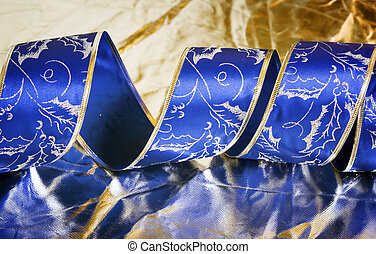 Christmas silve rand blue background - Blue spiral tape on...