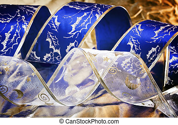 Christmas silve rand blue background - Blue and silver...