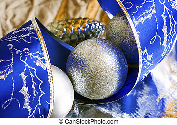 Christmas silve rand blue background - Blue spiral tape and...