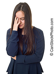woman headache isolated - Young woman with a strong...